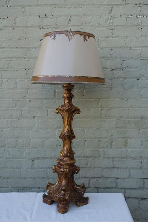 Carved italian candlestick lamps with parchment shades at 1stdibs