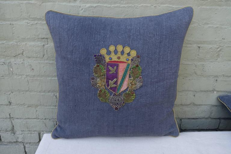 Other Pair of 19th Century Coat of Arm Pillows For Sale