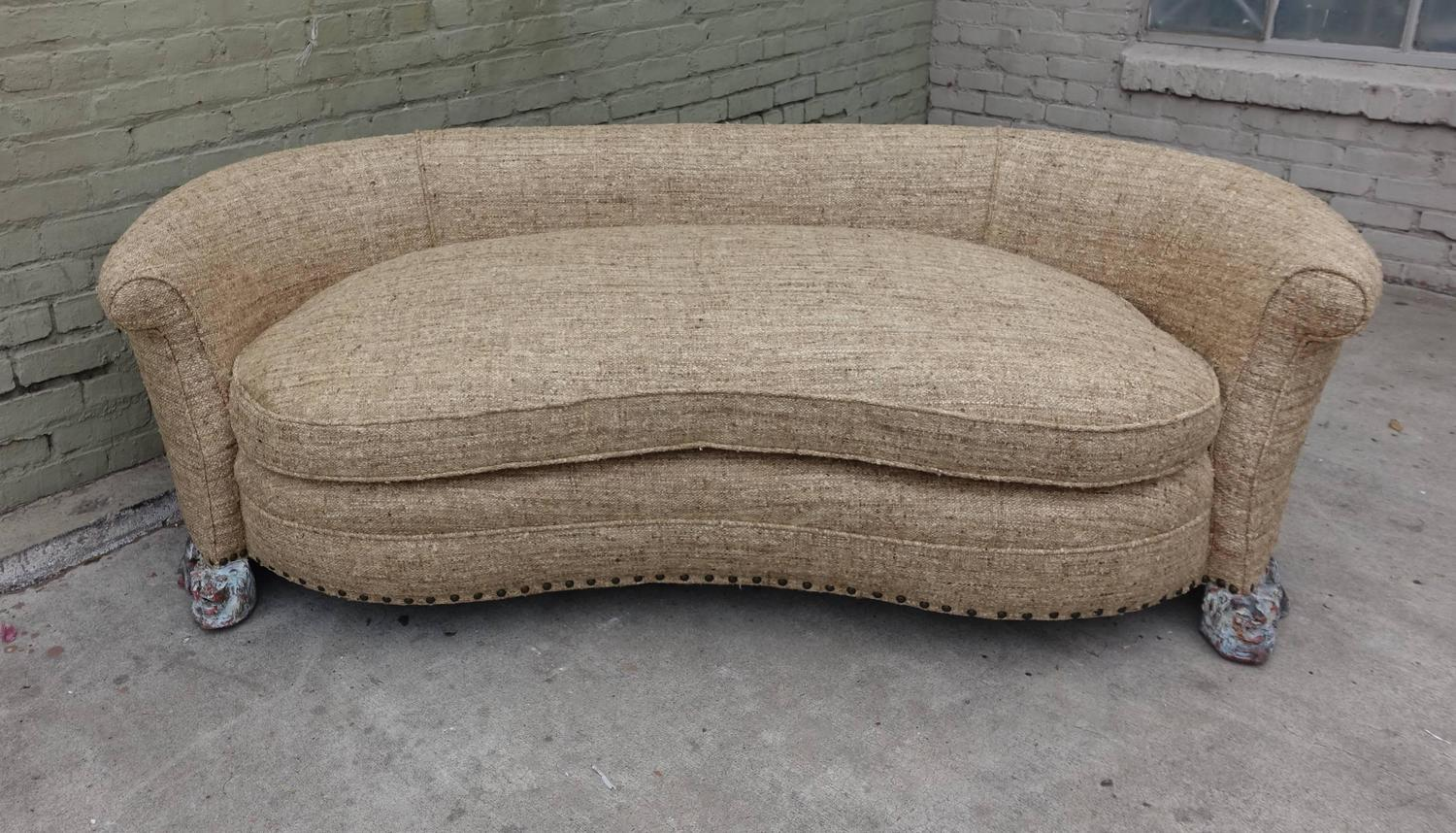 Italian Kidney Shaped Sofa With Carved Lion Feet At 1stdibs