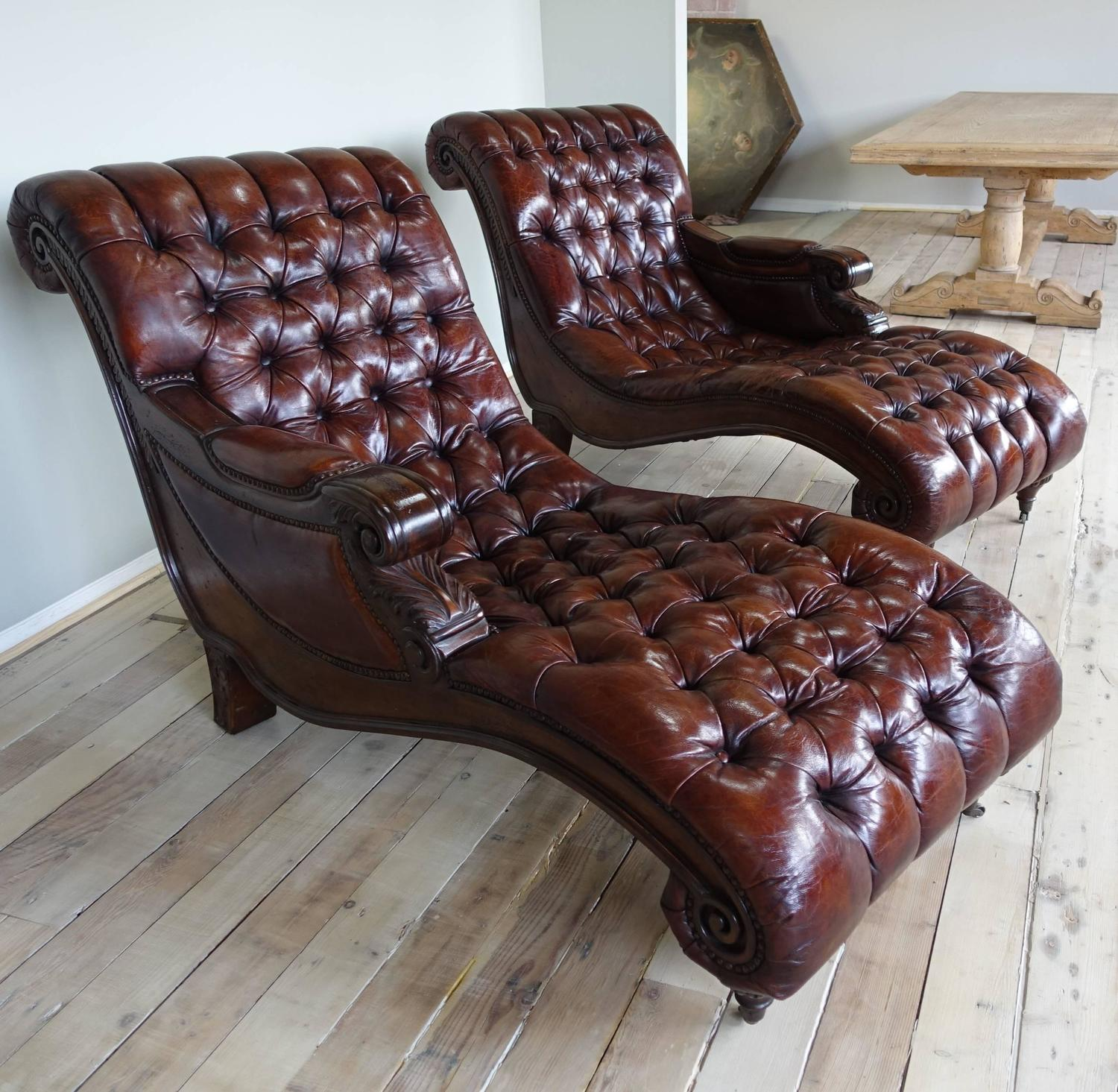Pair of italian leather tufted chaises circa 1930s at 1stdibs for 1930s chaise lounge
