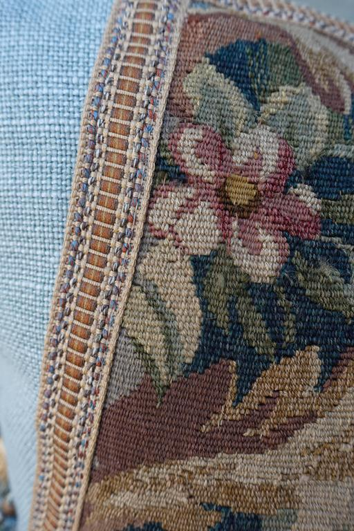 Linen Pair of 19th Century French Aubusson Pillows by Melissa Levinson For Sale