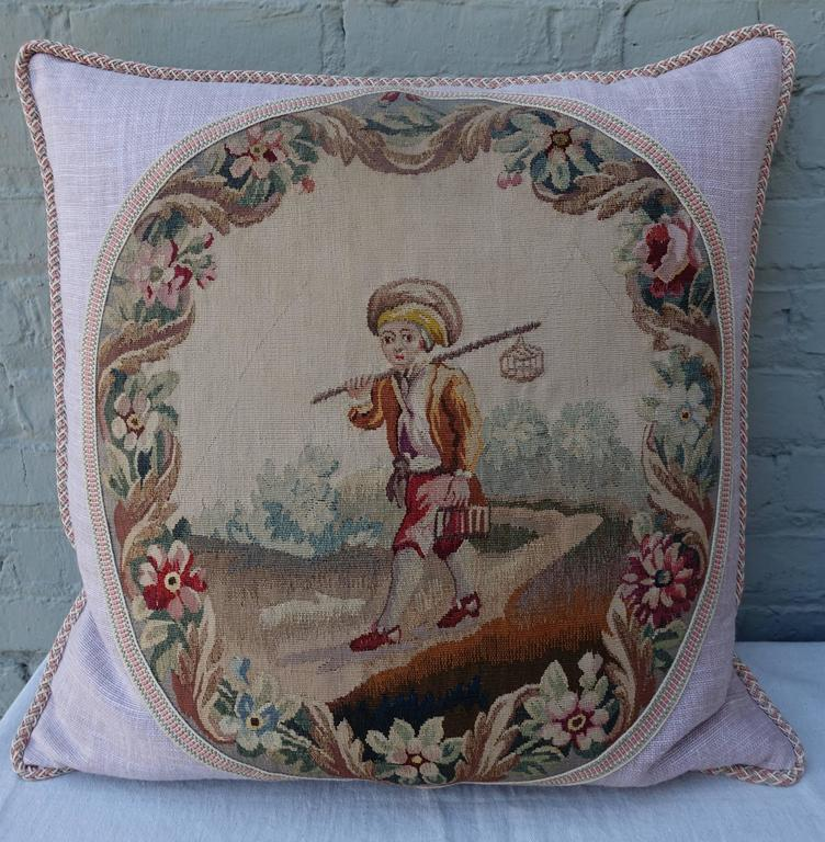 French Pair of Pillows with 19th Century Aubusson Textiles For Sale