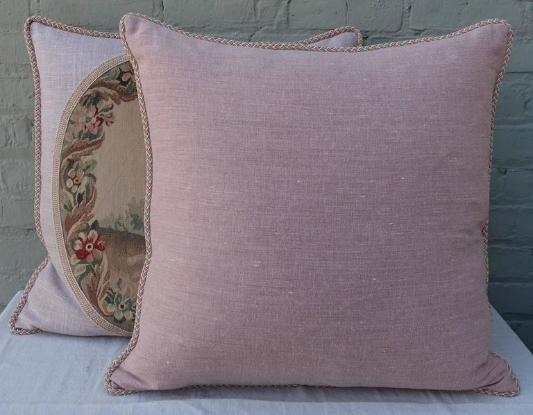 Pair of Pillows with 19th Century Aubusson Textiles For Sale 3