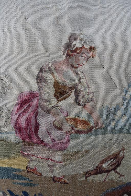 Pair of Pillows with 19th Century Aubusson Textiles In Excellent Condition For Sale In Los Angeles, CA