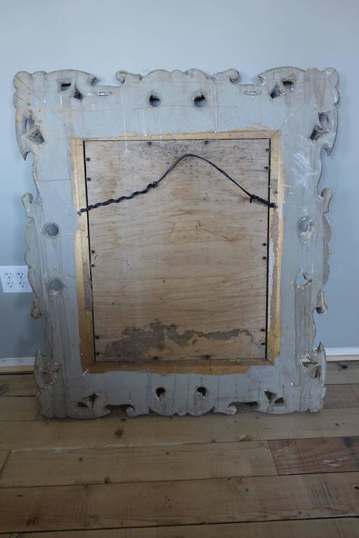 Antique Italian Carved Painted Mirror with Bevel For Sale 1