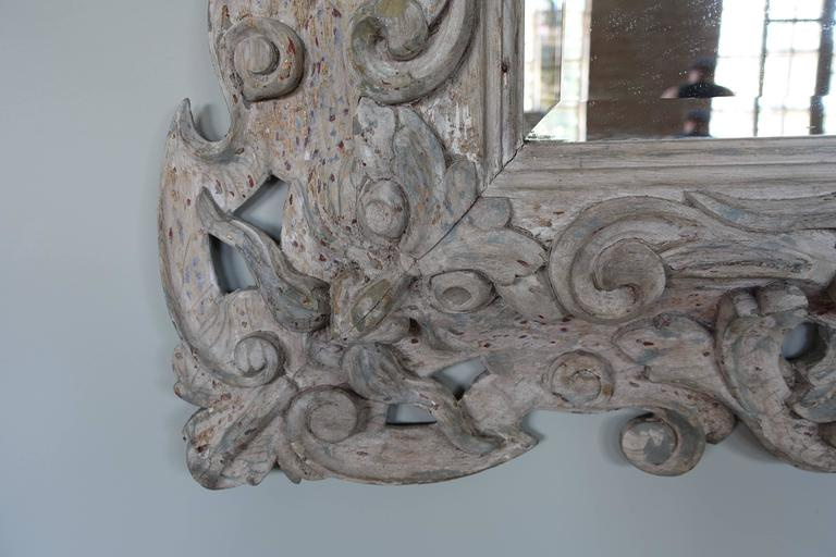 Antique Italian Carved Painted Mirror with Bevel In Distressed Condition For Sale In Los Angeles, CA