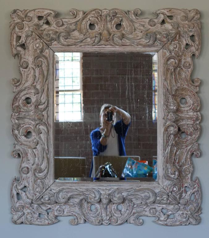 Antique Italian Carved Painted Mirror with Bevel For Sale 2