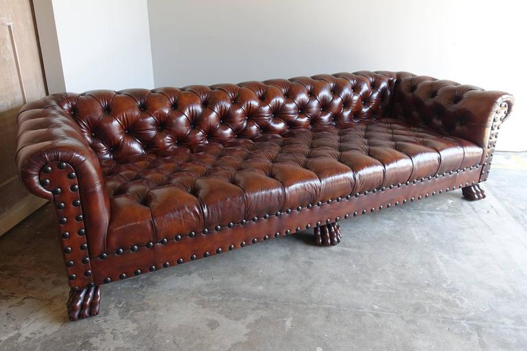 English Monumental Chesterfield Leather Sofa With Nailhead Trim For Sale