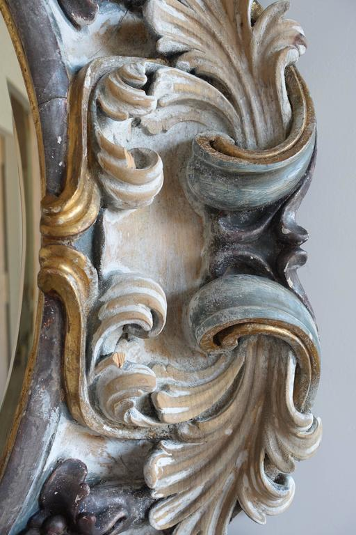 Mid-20th Century Italian Rococo Style Carved Wood Mirror, circa 1930s For Sale