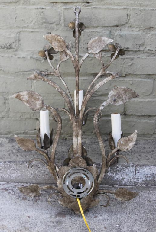 20th Century Pair of Three-Light Silvered Sconces For Sale
