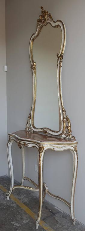 19th Century Louis XV Style Painted and Parcel-Gilt Console and Mirror In Distressed Condition For Sale In Los Angeles, CA