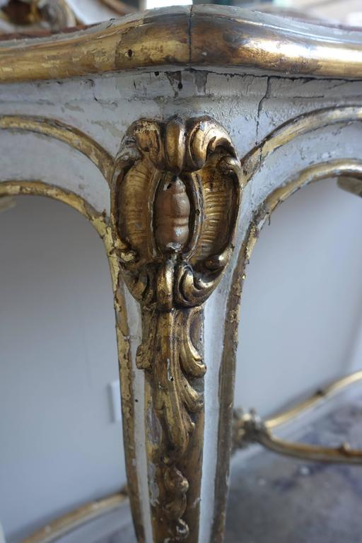 Gold Leaf 19th Century Louis XV Style Painted and Parcel-Gilt Console and Mirror For Sale