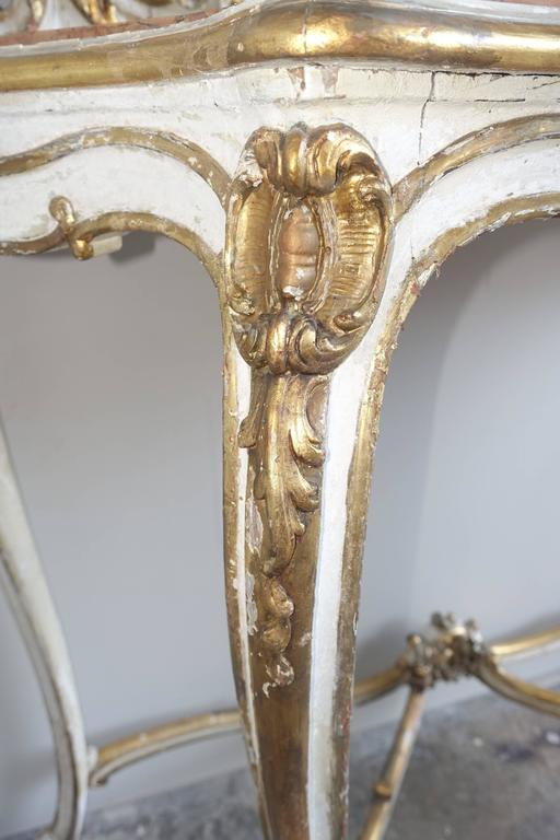19th Century Louis XV Style Painted and Parcel-Gilt Console and Mirror For Sale 3