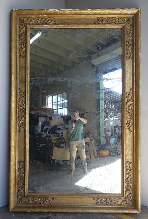 Renaissance Pair of 19th Century Italian Giltwood Mirrors For Sale