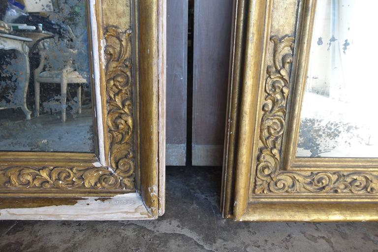 Pair of 19th Century Italian Giltwood Mirrors For Sale 3