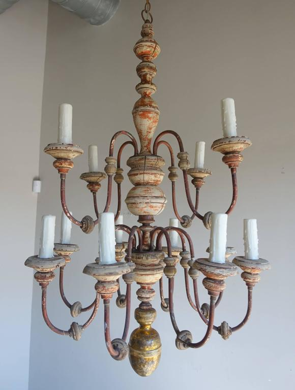 Twelve-Light Italian Wood and Iron Painted Chandelier 3