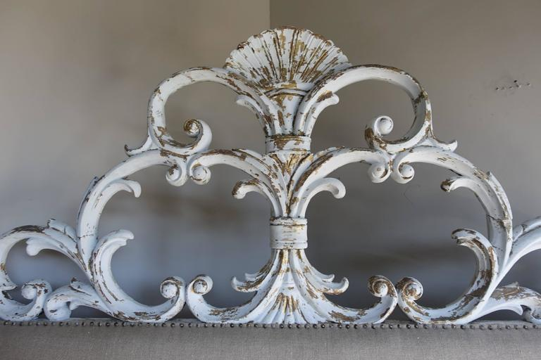 Italian Carved Painted Headboard with Scrolls 2