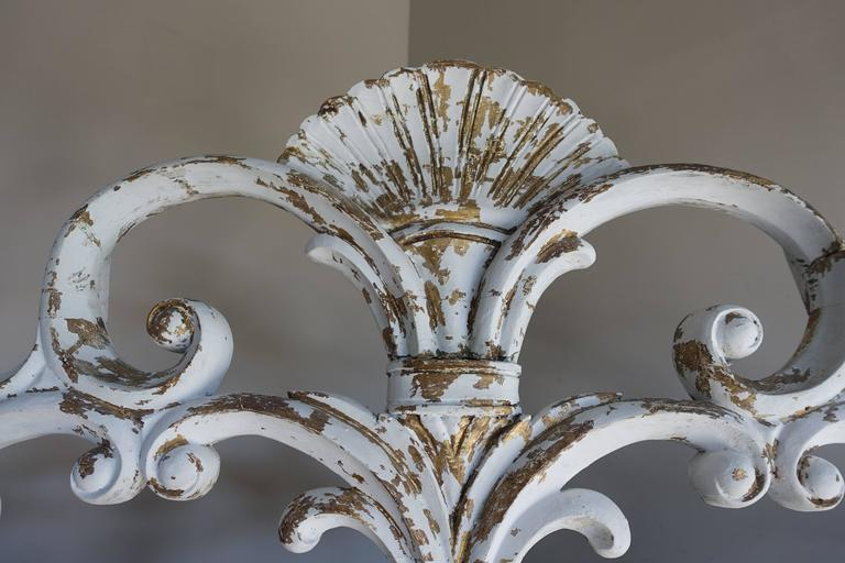 Italian Carved Painted Headboard with Scrolls 3