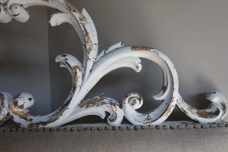 Linen Italian Carved Painted Headboard with Scrolls For Sale