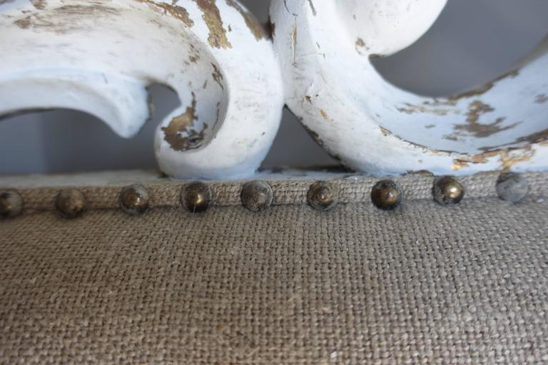 Italian Carved Painted Headboard with Scrolls For Sale 1