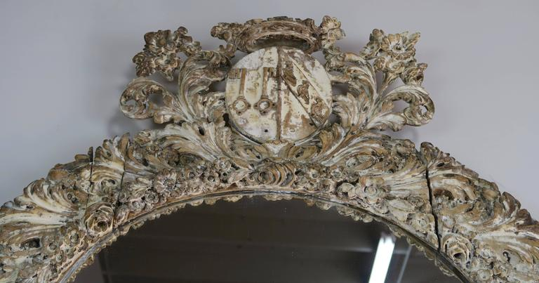 18th Century and Earlier 18th Century Italian Carved Painted Mirror with Royal Family Crest For Sale