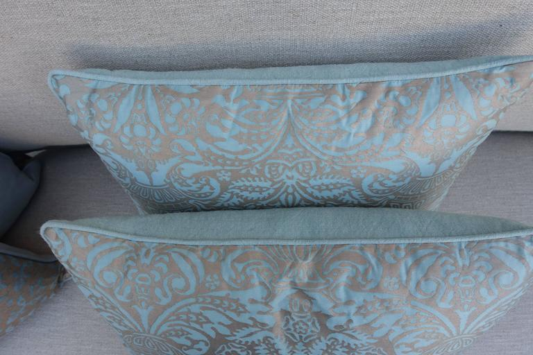 Rococo Aquamarine Campanielle Patterned Fortuny Pillows For Sale