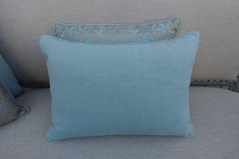 Italian Aquamarine Campanielle Patterned Fortuny Pillows For Sale