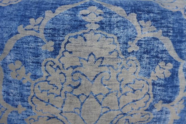 Blue and gray vintage Fortuny textile pillow with velvet back and self welt detail. Down insert, sewn shut.