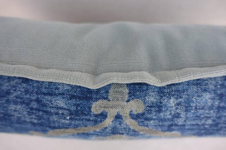 Baroque Blue and Gray Vintage Fortuny Textile Pillow For Sale