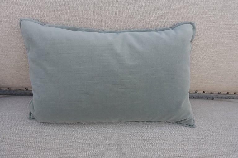 Italian Blue and Gray Vintage Fortuny Textile Pillow For Sale
