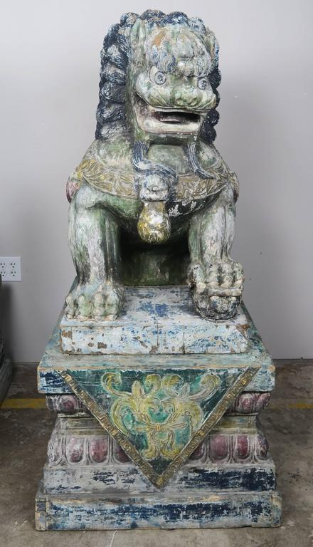 Other Pair of Monumental Carved Wood Painted Foo Dogs