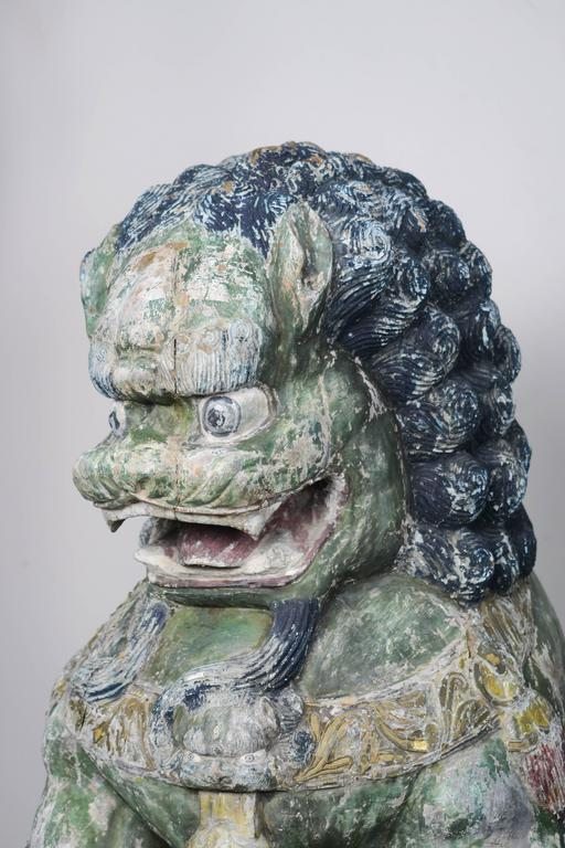 Chinese Pair of Monumental Carved Wood Painted Foo Dogs