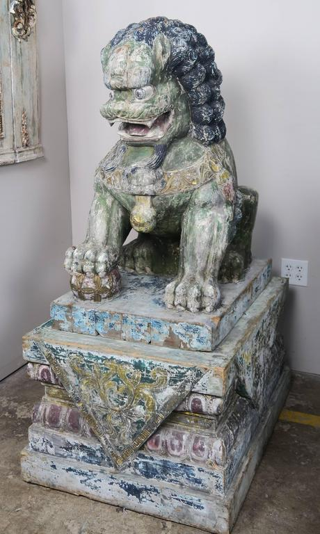20th Century Pair of Monumental Carved Wood Painted Foo Dogs