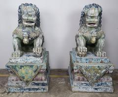 Pair of Monumental Carved Wood Painted Foo Dogs