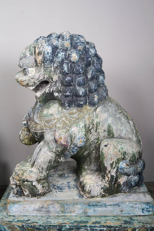 Pair of Monumental Carved Wood Painted Foo Dogs 3