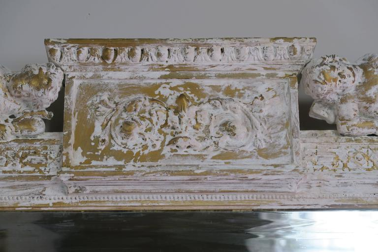 Italian Painted Neoclassical Style Mirror with Cherubs 7