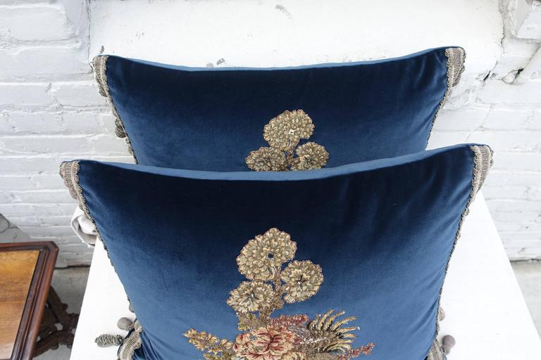 Velvet Pillows with 19th Century French Appliques In Excellent Condition For Sale In Los Angeles, CA
