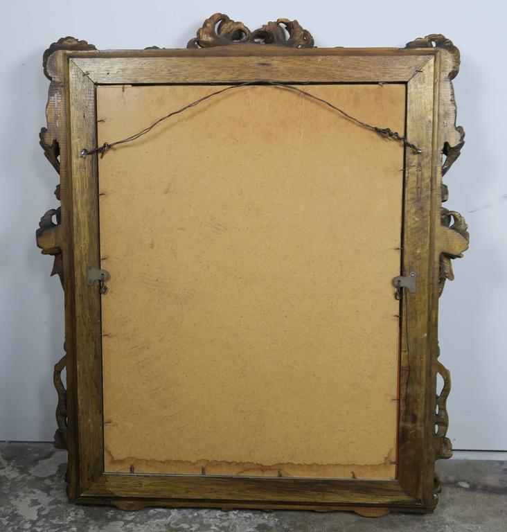 French Walnut Carved Wood Mirror with Flowers 9