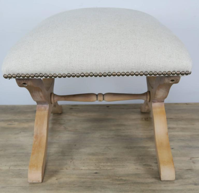 Early 20th Century Pair of Swedish Wood Benches with Belgium Linen For Sale