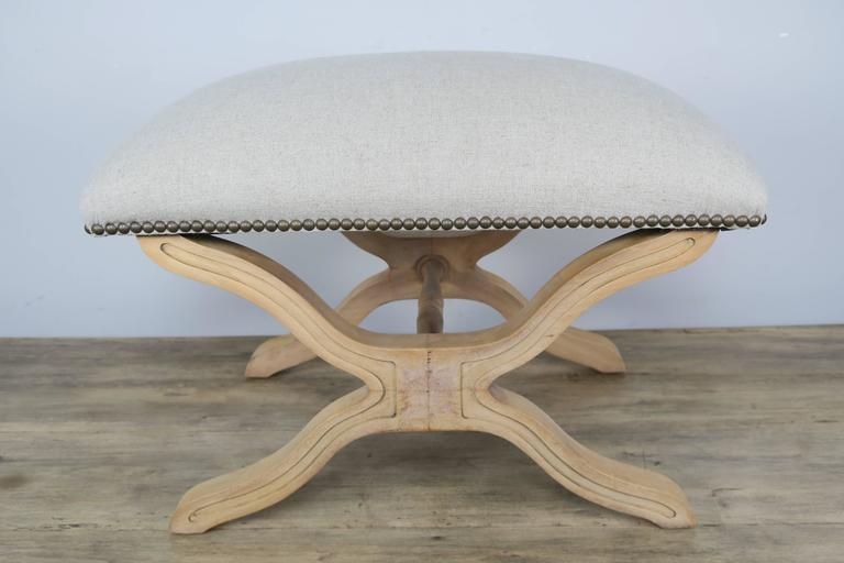 Pair of Swedish Wood Benches with Belgium Linen In Distressed Condition For Sale In Los Angeles, CA