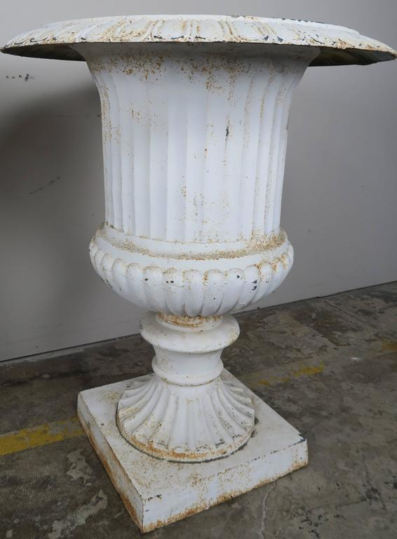 Monumental Painted Cast Iron Planters, Pair 6