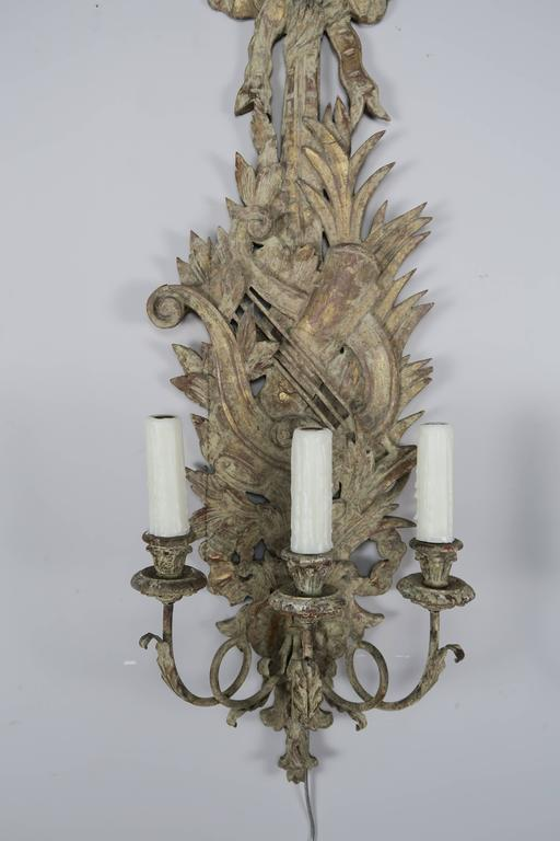 Pair of French Carved Wood Sconces, circa 1920 3