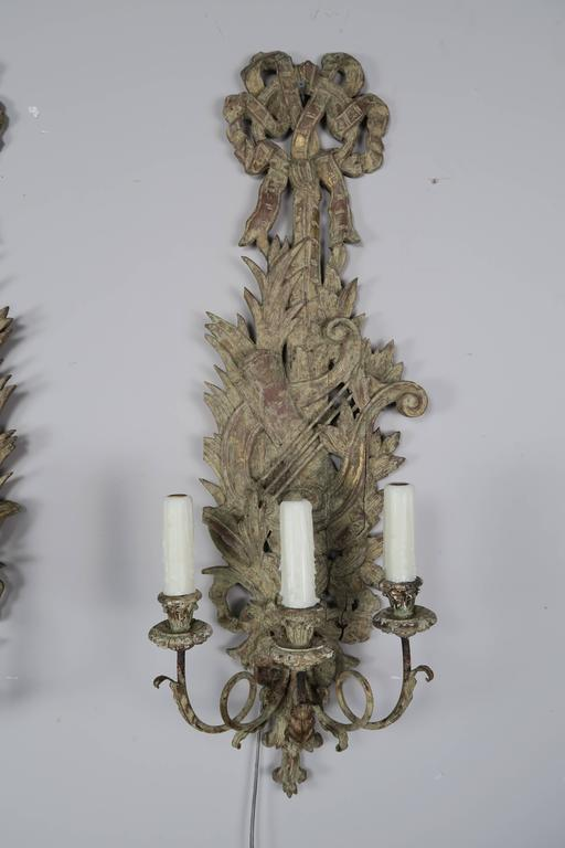 Pair of French Carved Wood Sconces, circa 1920 2