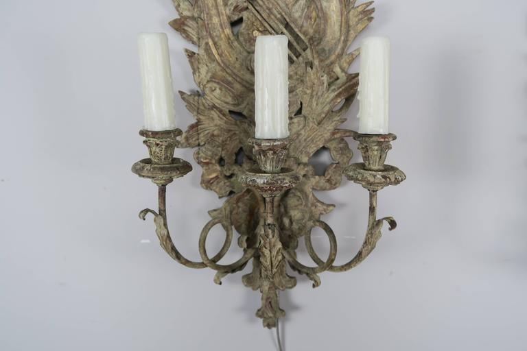 Pair of French Carved Wood Sconces, circa 1920 4