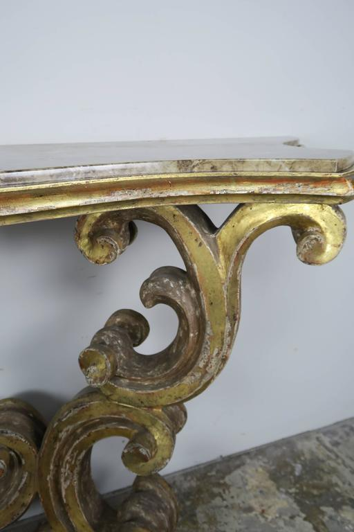 Italian Giltwood Consoles with Marble Top 4