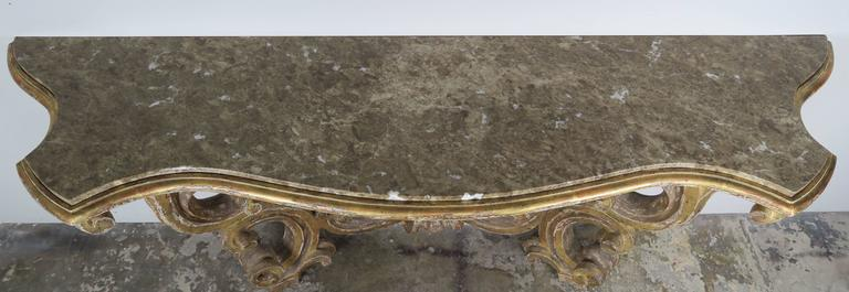 Italian Giltwood Consoles with Marble Top 5