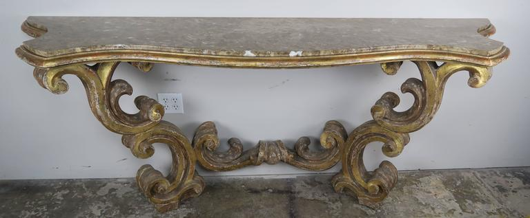 Italian Giltwood Consoles with Marble Top 2