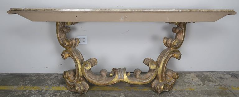Italian Giltwood Consoles with Marble Top 10