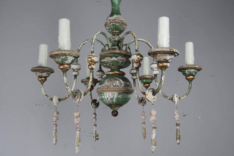 Rococo Italian Painted and Parcel-Gilt Chandelier with Wood Drops For Sale