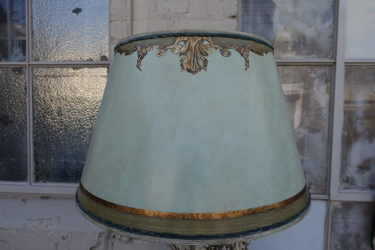 Pair of 19th Century Italian Column Lamps with Shades 6